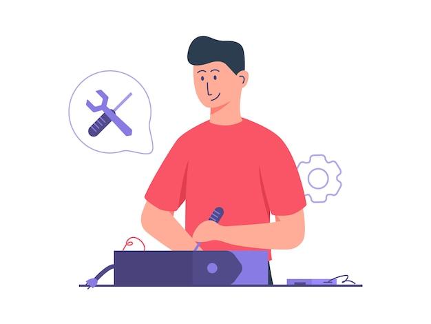 Réparation d'ordinateur de travail de technicien homme utiliser un tournevis et une clé avec un style cartoon plat.