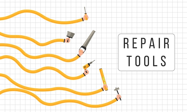 Réparation des outils. des mains humaines tiennent des outils de travail.
