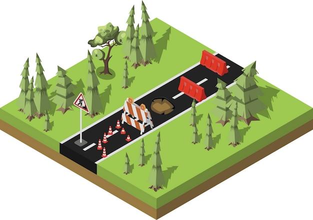 Réparation des routes, route forestière en construction, entretien et construction de la chaussée.