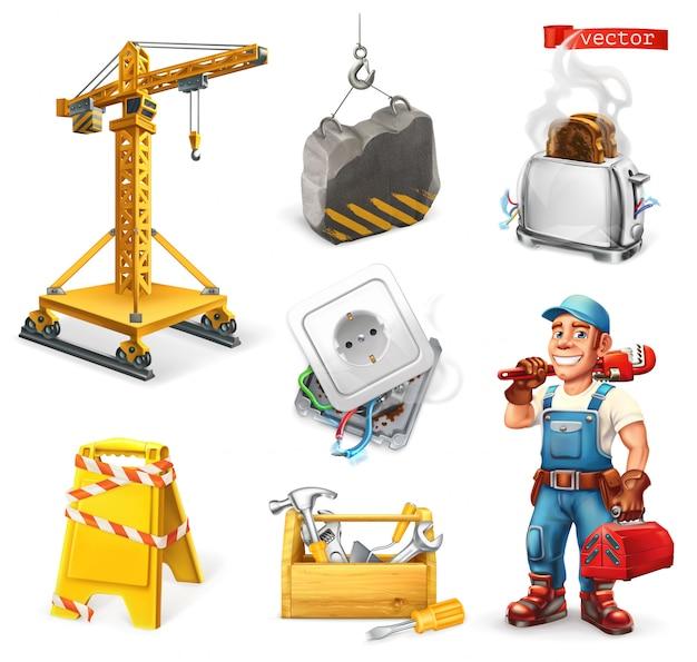 Réparation et service. grue, prise, outils, travailleur. ensemble 3d