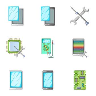 Réparation de téléphone servise icônes définies, style de bande dessinée