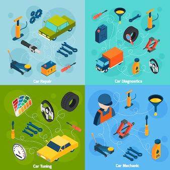 Réparation de voiture et réglage des icônes isométriques