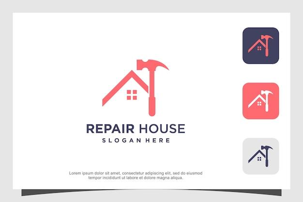 Réparer la création de logo de maison avec un concept créatif vecteur premium