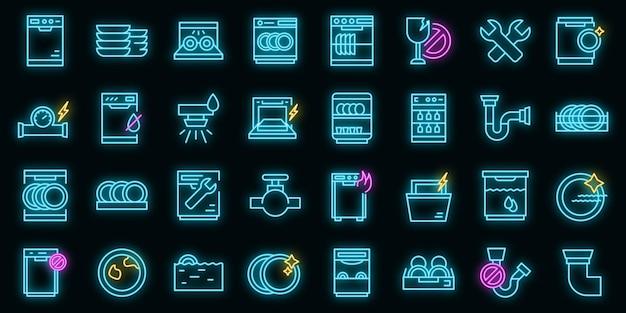 Réparer le lave-vaisselle icons set vector néon