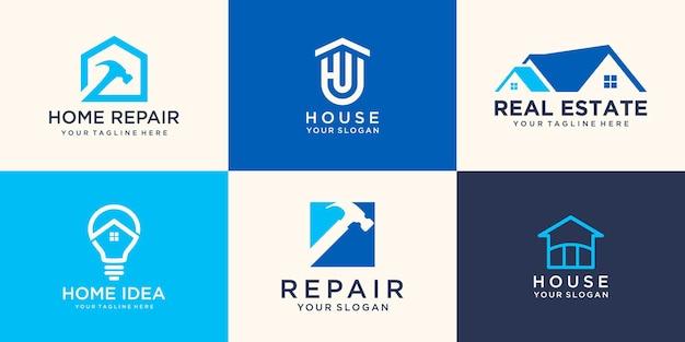 Réparer le modèle de conception de logo de maison. marteau combiné, élément de lampe.