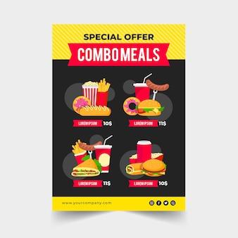 Repas combinés - concept d'affiche