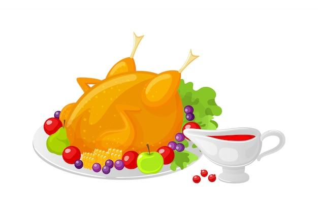 Repas cuit de volaille d'oiseau sur le vecteur de thanksgiving