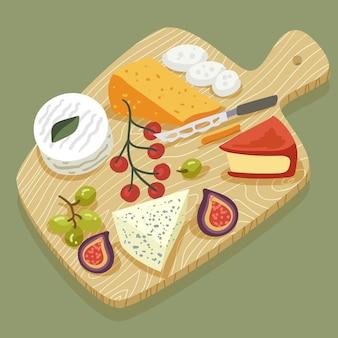 Repas de fromage illustré sur planche de bois