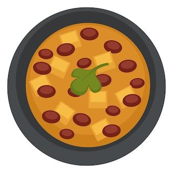 Repas végétarien et végétalien, icône isolée de bol avec soupe aux haricots et fromage ou tofu. bouillon servi avec du persil. menu restaurant ou dîner, cuisine maison à base de pois et d'herbes. vecteur dans un style plat