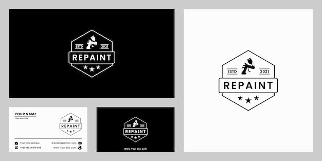 Repeindre la conception de logo rétro, aérographe avec modèle de carte de visite