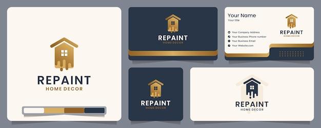 Repeindre, peindre, maison, bannière et carte de visite, inspiration de conception de logo