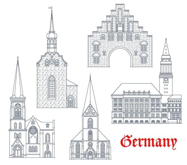 Repères d'allemagne, icônes de bâtiments d'architecture