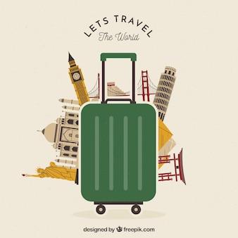 Repères derrière la valise