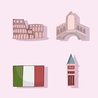 Repères et drapeau de l'italie