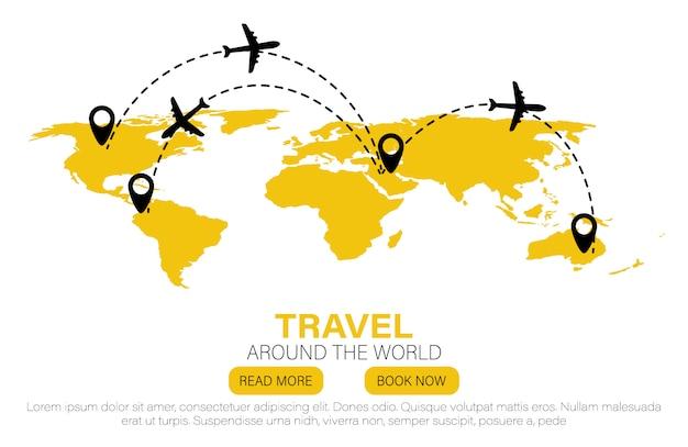 Repères sur le globe. voyage au monde. plat