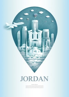 Repères de voyage broche monument jordanien de l'asie moderne et ancienne.