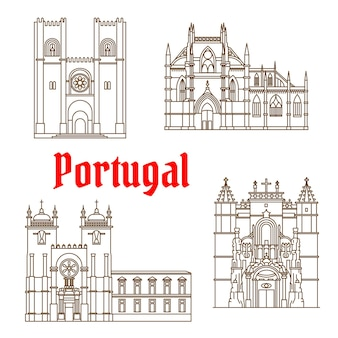 Repères de voyage portugais du symbole de la ligne mince de l'architecture religieuse