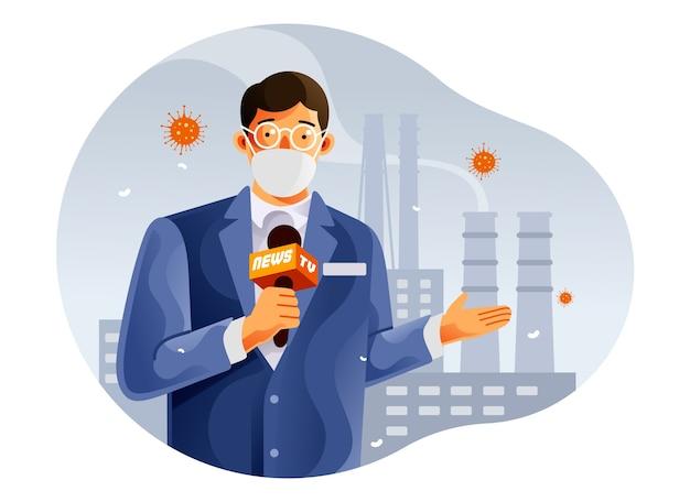 Reportage d'un journaliste de télévision sur le coronavirus