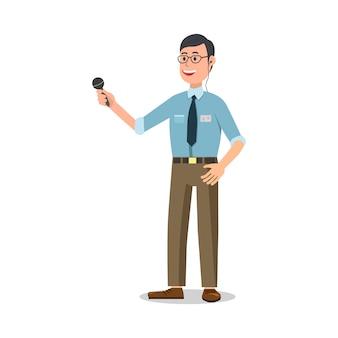 Reporter avec microphone sur blanc