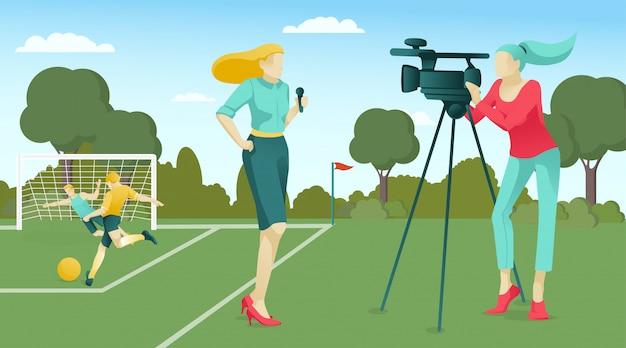 Reporter et opérateur diffusant un match de football