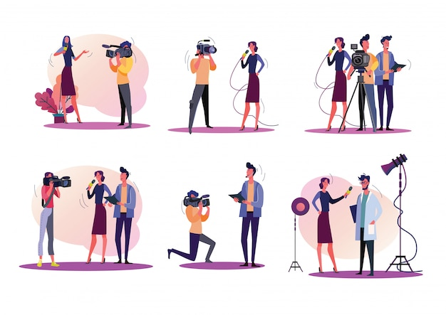 Reporters illustration set