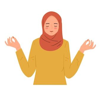 Reposante paisible jeune femme détendue. profitez du silence, du concept de la pleine conscience. illustration dessinée à la main moderne à la mode.