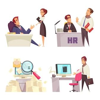 Reprendre le concept de recrutement avec quatre compositions isolées représentant un entretien de recherche d'emploi et un nouveau lieu de travail de bureau