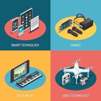 Représentant différents gadgets technologie intelligente jeux art musique vidéo