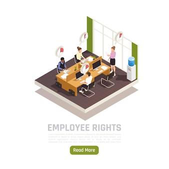 Représentant du syndicat du travail vérifiant la bannière isométrique du temps de travail des employés