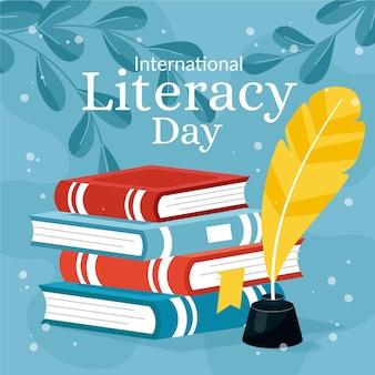 Représentation de la journée internationale de l'alphabétisation au design plat