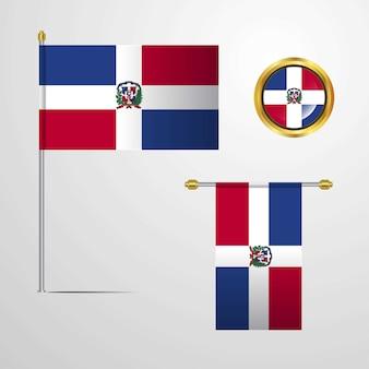 République dominicaine, agitant la conception du drapeau avec le vecteur insigne