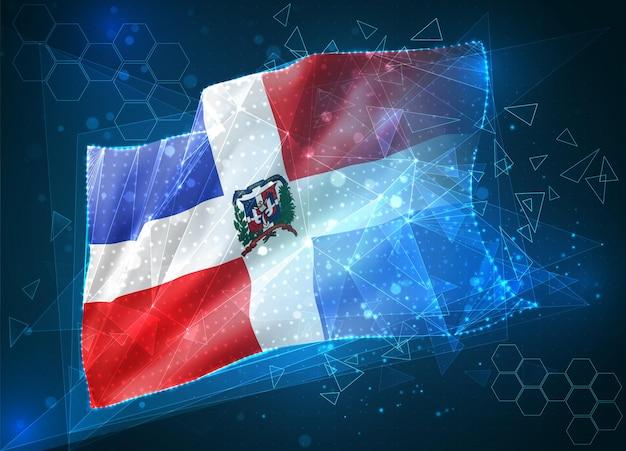 République dominicaine, drapeau vectoriel, objet 3d abstrait virtuel à partir de polygones triangulaires sur fond bleu