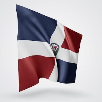 République dominicaine, drapeau vectoriel avec vagues et virages ondulant dans le vent sur fond blanc.