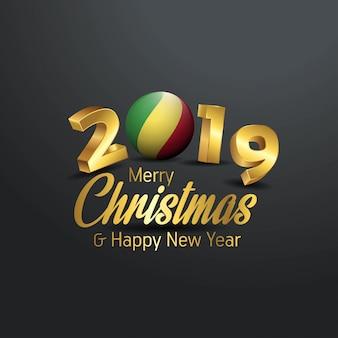 République du congo drapeau 2019 typographie joyeux noël