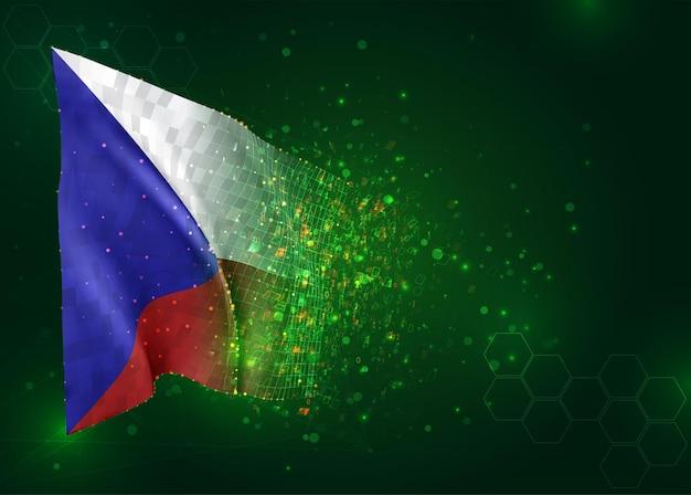 République tchèque, drapeau 3d sur fond vert avec des polygones