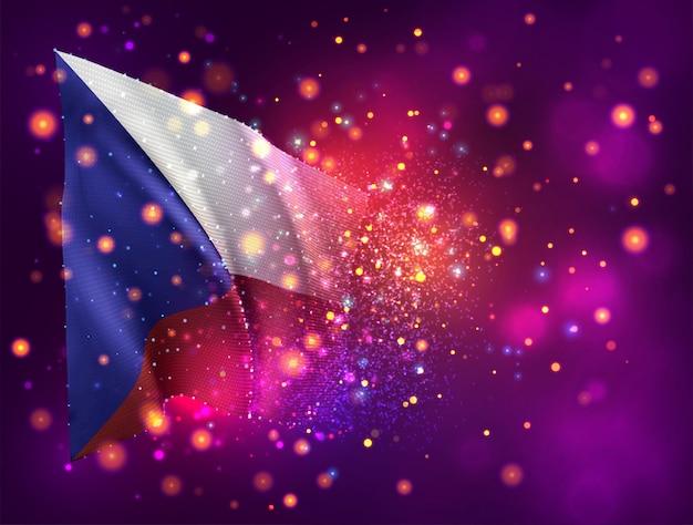 République tchèque, drapeau 3d sur fond violet rose avec éclairage et fusées éclairantes