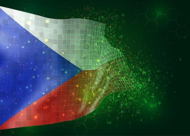 République tchèque, sur le drapeau 3d vectoriel sur fond vert avec des polygones et des numéros de données