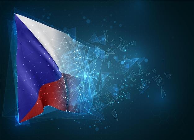 République tchèque, drapeau, objet 3d abstrait virtuel de polygones triangulaires sur fond bleu