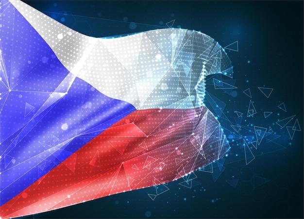 République tchèque, drapeau vectoriel, objet 3d abstrait virtuel à partir de polygones triangulaires sur fond bleu
