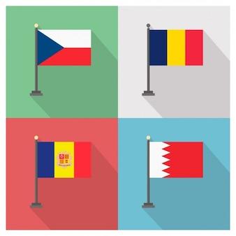 République tchèque roumanie andorre et à bahreïn drapeaux