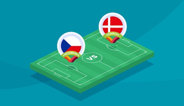 République tchèque vs danemark match illustration vectorielle championnat de football 2020