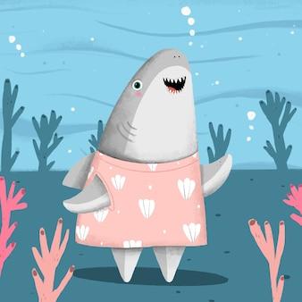 Requin bébé design plat en style cartoon