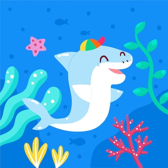 Requin bébé design plat en style cartoon