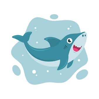 Requin bébé dessin animé smiley