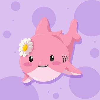 Requin bébé mignon design plat