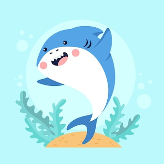Requin bébé plat en style cartoon