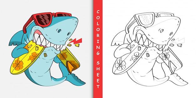 Requin en colère de dessin animé mord une planche de surf, feuille à colorier