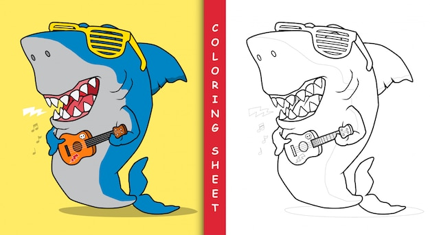 Requin cool jouant de la guitare