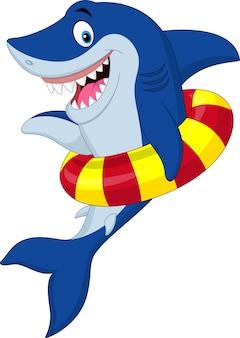 Requin de dessin animé avec anneau gonflable