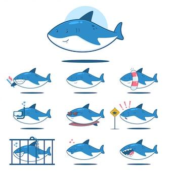 Requin de dessin animé mignon avec différentes émotions. jeu de caractères de vecteur de poisson drôle isolé